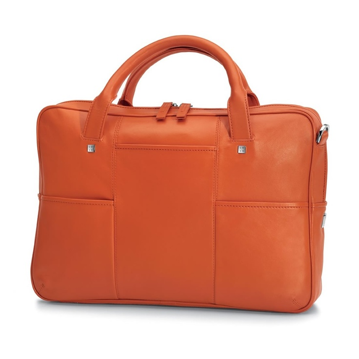 Giorgio Fedon Orange Leather Briefcase