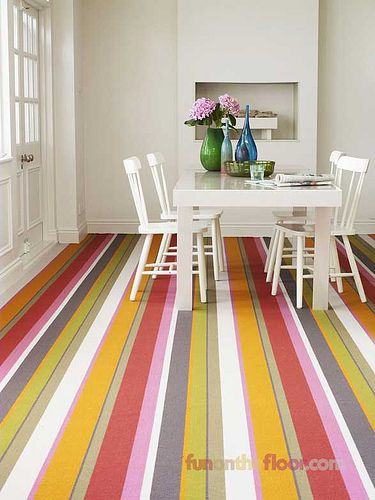 Dining Room Striped Coloured Carpet by Fun on the Floor, via Flickr: Decor, Interior Design, Dining Room, Striped Coloured, Floor, Coloured Carpet, Flat, Carpets