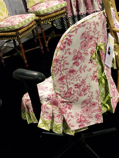 Office Chair Slipcovers created  for Jackie Von Tobel using fabric from Jackie's designer fabrics. made by Gina Roberts. .
