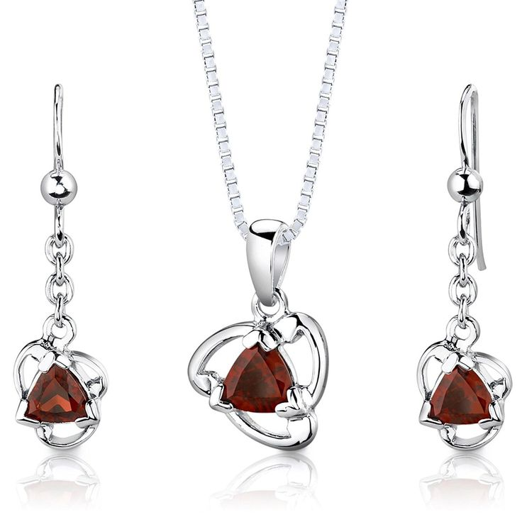 Garnet Pendant Earrings Necklace Sterling Silver Rhodium Nickel Finish Trillion Shape 2.00 Carats ** Check out this great product. (This is an Amazon Affiliate link and I receive a commission for the sales)