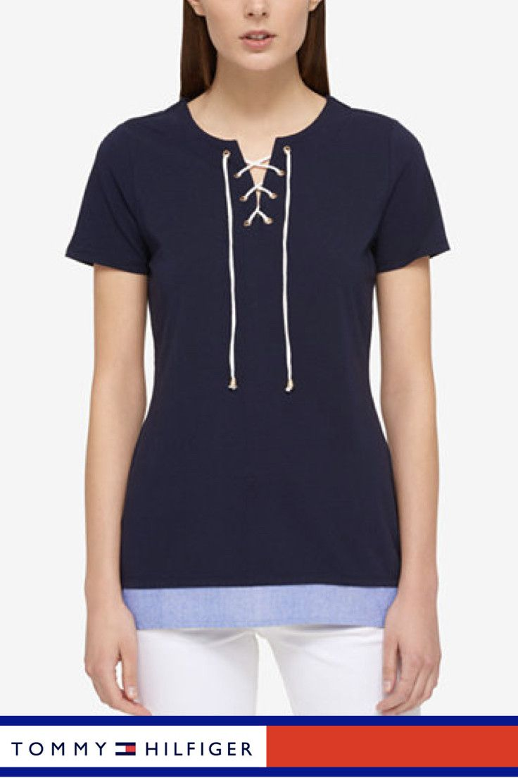 Tommy Hilfiger Lace-Up Layered-Look Top