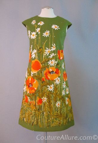 Vintage 60s VERA NEUMANN Cotton Floral Shift Dress Small bust 36 at Couture Allure Vintage Clothing