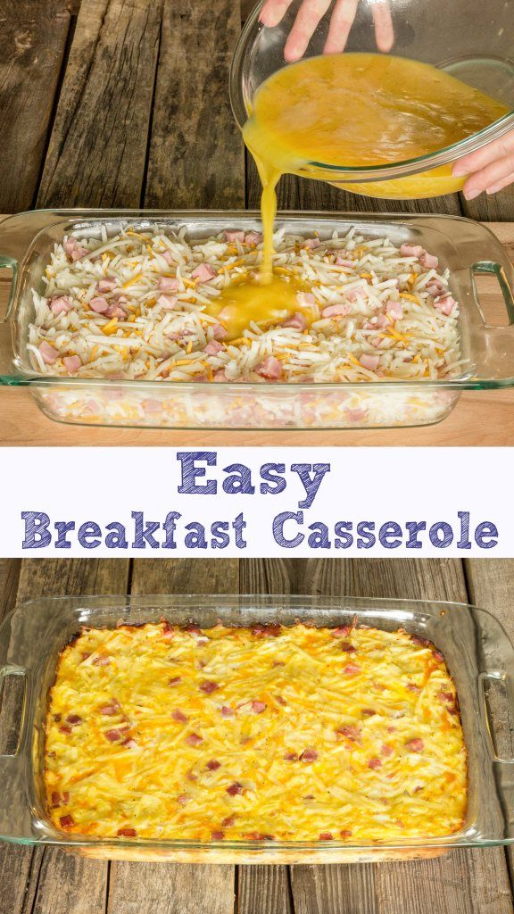 Easy Breakfast Casserole ~ will feed 8-12, depending on how it's cut. I would sub bacon for the ham though