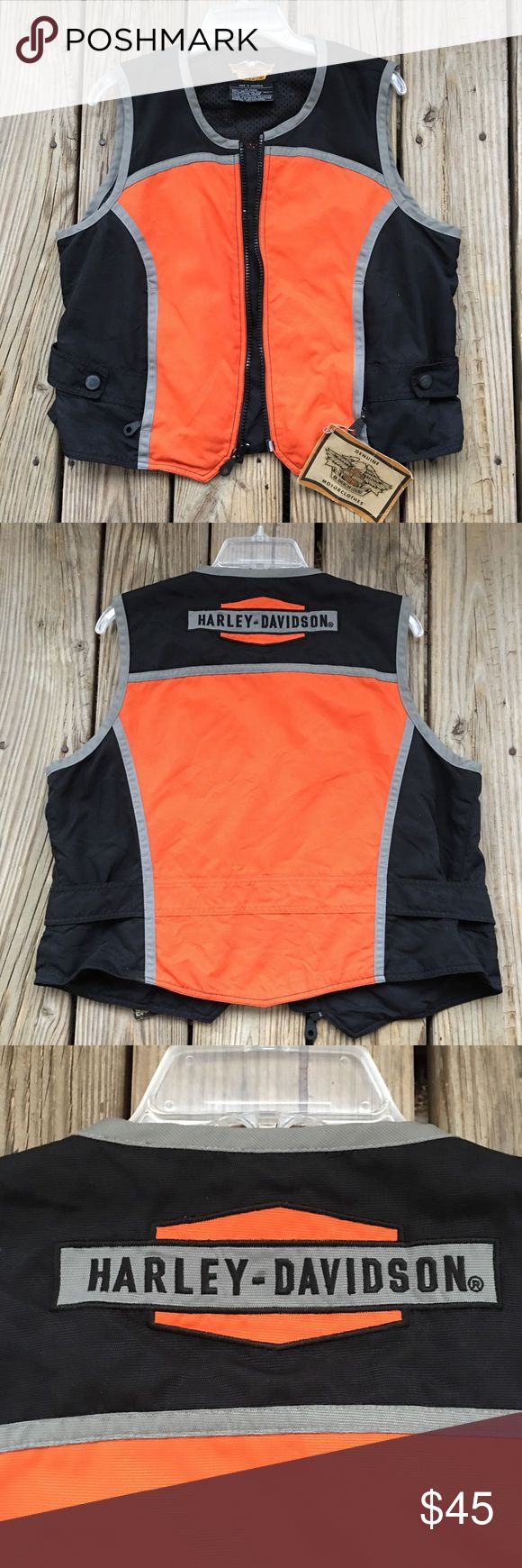 Harley - Davidson Vest Harley - Davidson Vest Women's Size X Large colors black and orange. Measurements are approximate , bust laying is 22 inches , and is 22 inches. New With Tags Harley-Davidson Jackets & Coats Vests