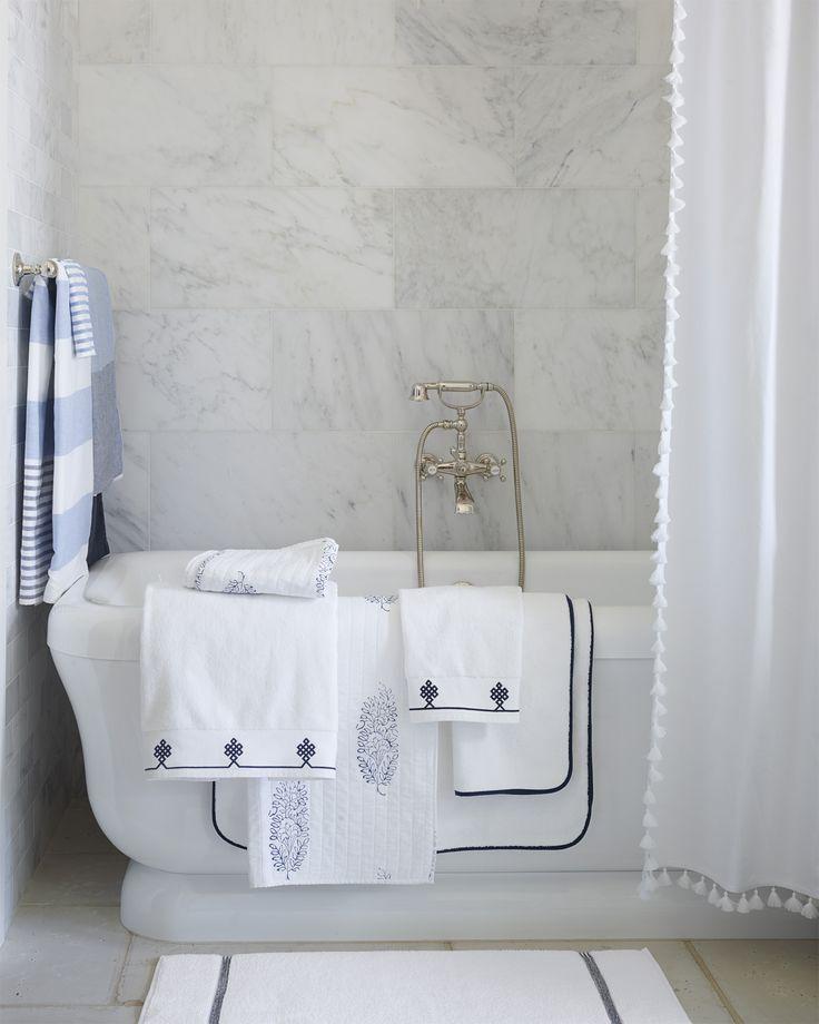 A classic bathroom design | Bath textiles via Serena & Lily
