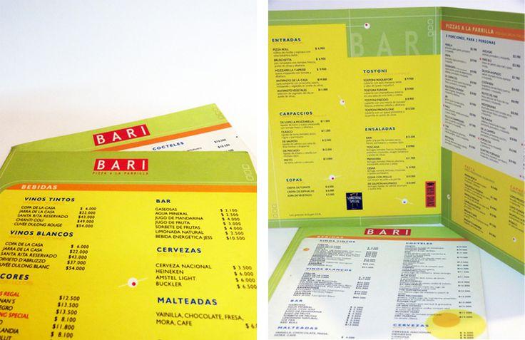 BARI  Aunque este restaurante cerró sus puertas, resaltamos el trabajo de imagen e identidad que se logró implementada en el logotipo, aviso de fachada, manejo de los muros del restaurante, menús y piezas impresas.