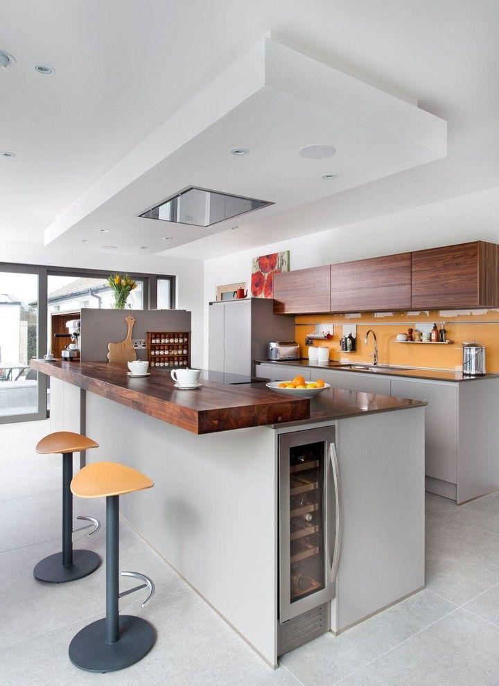 Slim Wine Fridge Contemporary Kitchen And Ceiling Spotlight Contemporary Kitchen Grey Island Kitchen Gadgets K Grey Kitchens Kitchen Design Open Kitchen Design