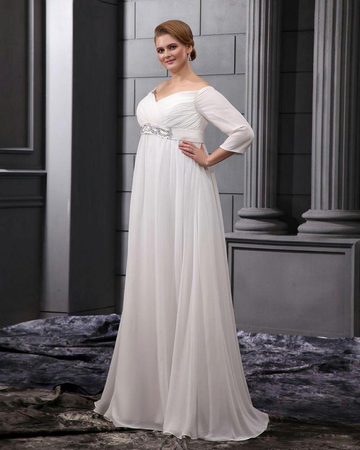 Chiffon V-Neck Floor Length Plus Size Bridal Gown Wedding Dress