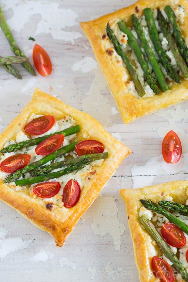Quick Puff Pastry Bites with Boursin and Asparagus - Appetizer, Light Lunch and Party Recipe