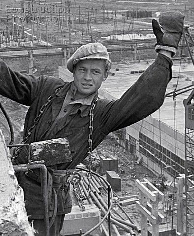 A steeplejack on the construction of the main block of the Konakovo Thermal Power Station Russia 1966