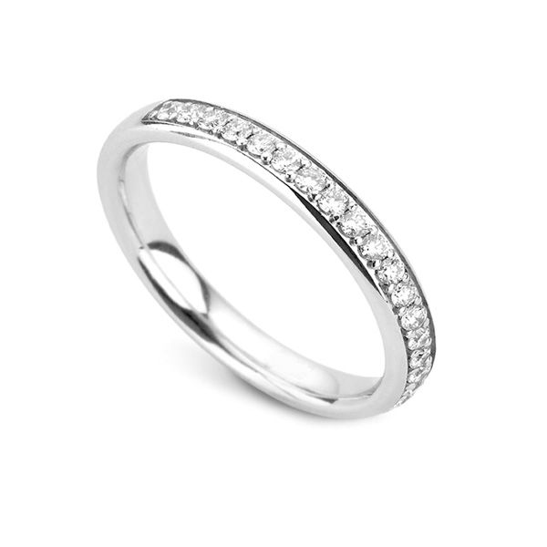 0.33cts Half Grain Set 3mm Diamond Wedding Ring