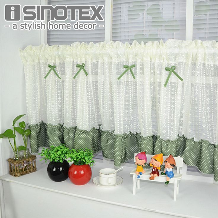 Half Curtain Window Curtain Bowknot Lace Decoration Floral For Kitchen Curtain Valance Living Room Drape Panel 1 PCS