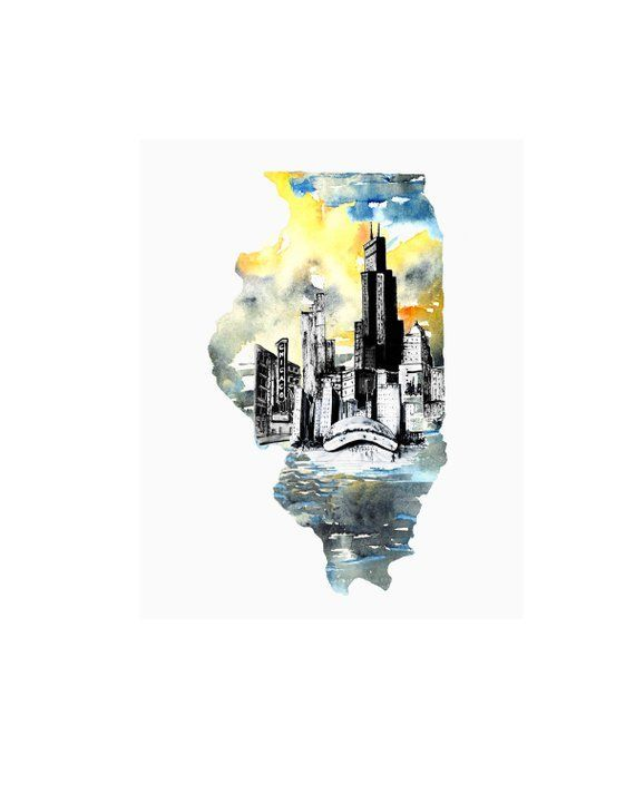 Illinois Watercolor Map Art Print Chicago Map Art Illinois State