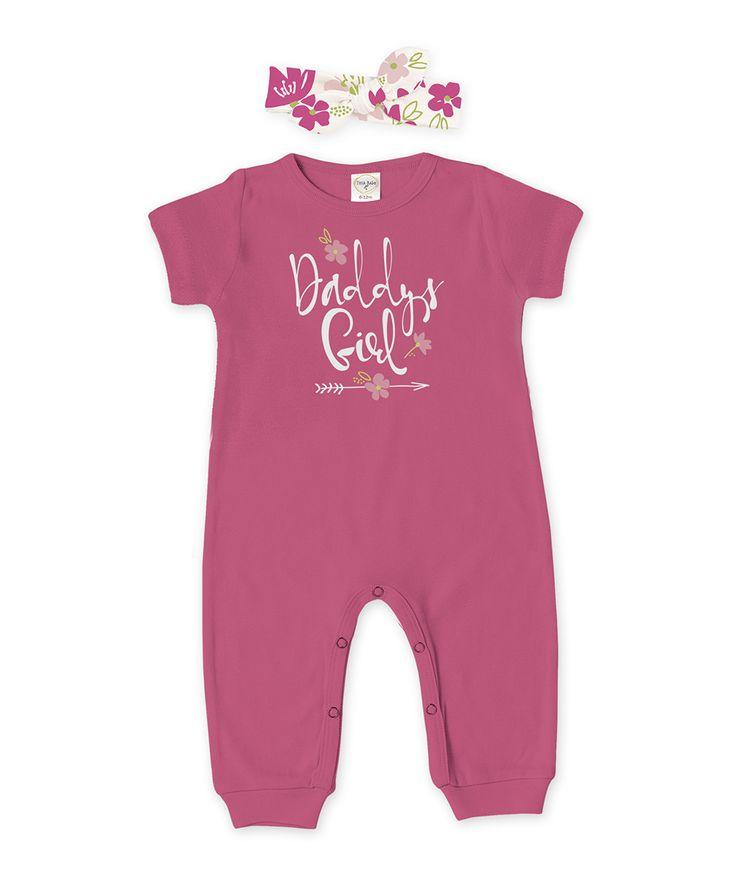 Fuchsia 'Daddy's Girl' Playsuit & Floral Headband - Infant