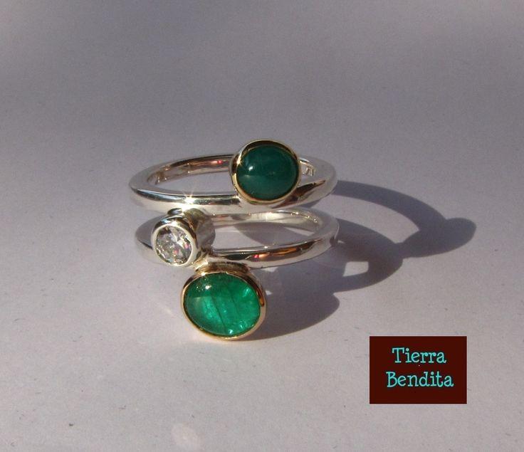 anillo esmeraldas, oro 18k y plata 950