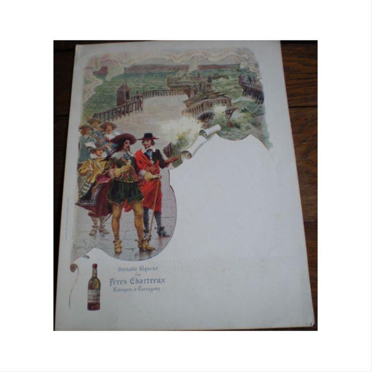 """Menu publicitaire du début du XXème siècle, période Tarragone, signé par Maurice Leloir. Il illustre """" Au siège de la Rochelle, le Roi Louis XIII accompagné de Richelieu visite la digue par un mauvais temps et se réconforte avec un verre de la liqueur des Chartreux."""" C'est comme dans les Trois mousquetaires mais la scène est anachronique en ce qui concerne la chartreuse !"""