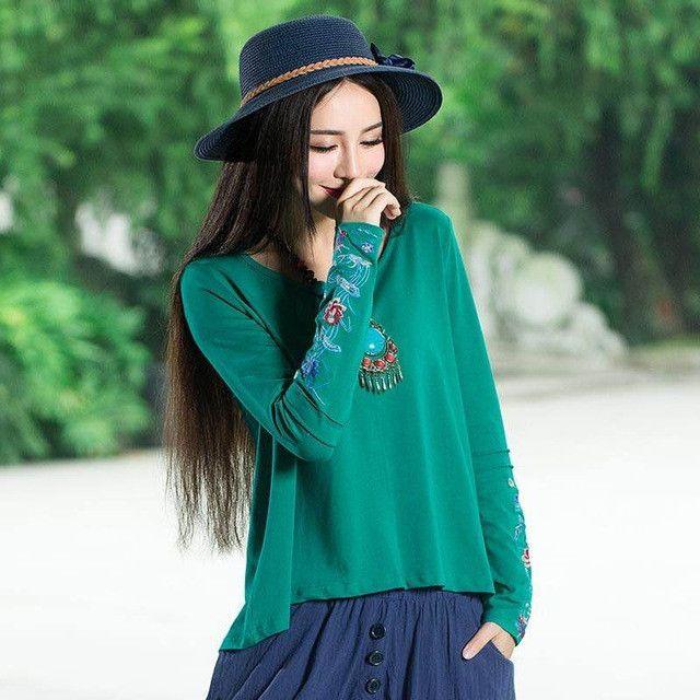 Bohemian shirt 2017 women pullover female autumn winter ethnic boho original green blue orange embroidery cotton blouse top