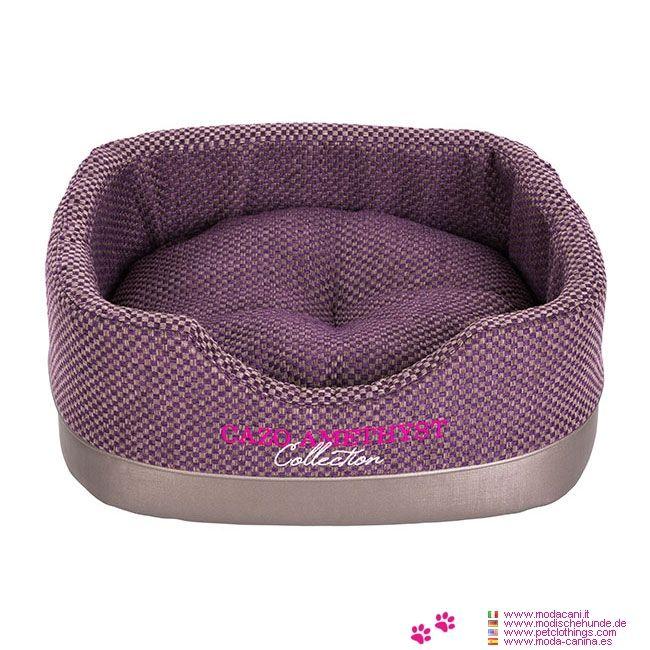 Cama Rectangular Amatista en forma de Cesta - Cama para perros pequeños, en forma de cesta; la tela está formada por alternancia de cuadrados gris y violeta; el resultado es un tejido resistente