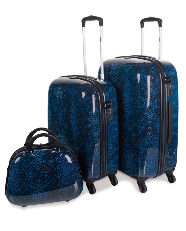 Juego de maletas rígidas Skpa-t azules símil piel.