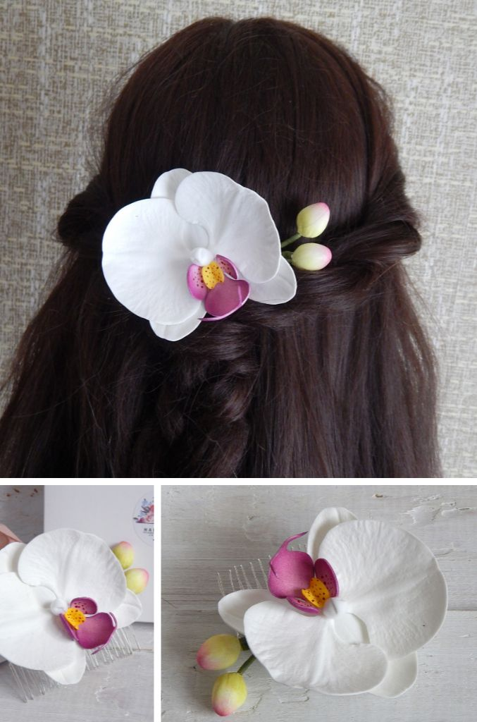 White Orchid Hair Piece Tropical Flower Orchid Hair Comb Floral Hair Pin Hawaiian Bridal Hairpiece Beach Wedding Headpiece Orchid Hair Piece Floral Hair Pins Flower Hair Pieces