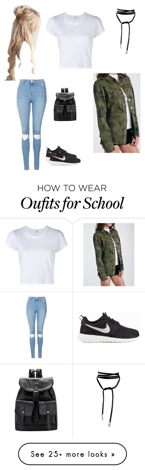 LAST DAY OF SCHOOL by kingevanizzl on Polyvore featuring Topshop, NIKE and RE/DONE