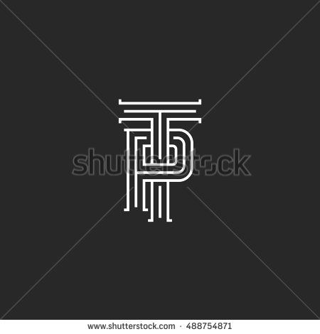 Letters TP logo hipster monogram, weaving thin line emblem PT medieval initials, overlapping two symbols P T template