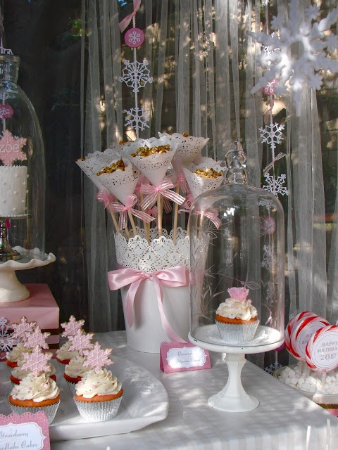 Love the doily cones on sticks....Oh Sugar Events: Winter ONEderland Party