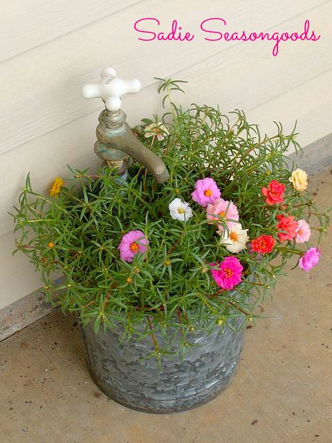Vintage Bucket and Faucet Planter