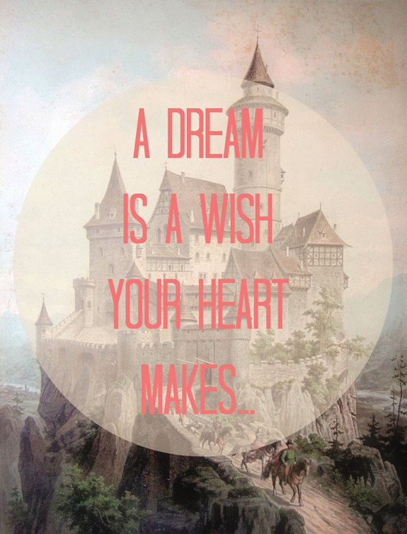 Fairytale - 8x10 Typography Vintage Art - Chateau, Castle, Princess - Disney Quote, Words - Salmon Coral, Magical, Storybook, Cinderella