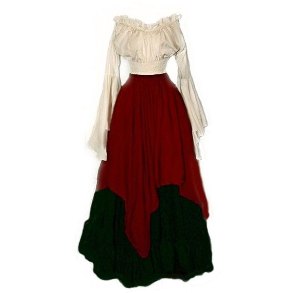 I-D-D Renaissance Medieval Peasant Wench Pirate Faire 3-Piece Costume... ❤ liked on Polyvore featuring costumes, dresses, renaissance, renaissance wench costume, wench costume, red costumes, pirate halloween costumes and renaissance costume