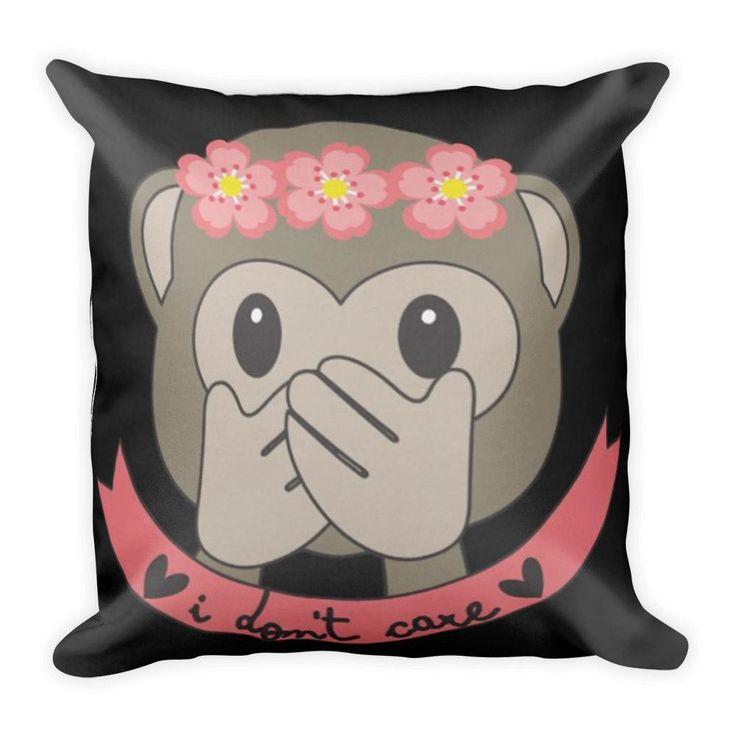 Pillow I don't care Emoji Flower Pattern Throw Pillow
