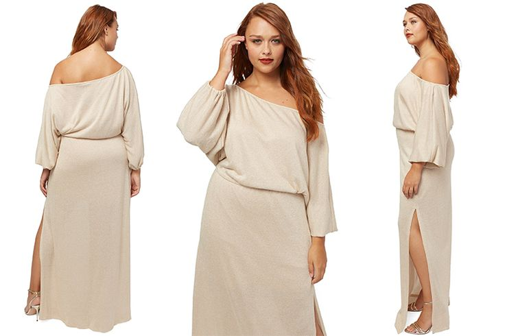#PlusModelMag Plus Fashion Find: White Label Seaton Sweater Dress in Natural/Gold from Rachel Pally #PLUSmodelmag