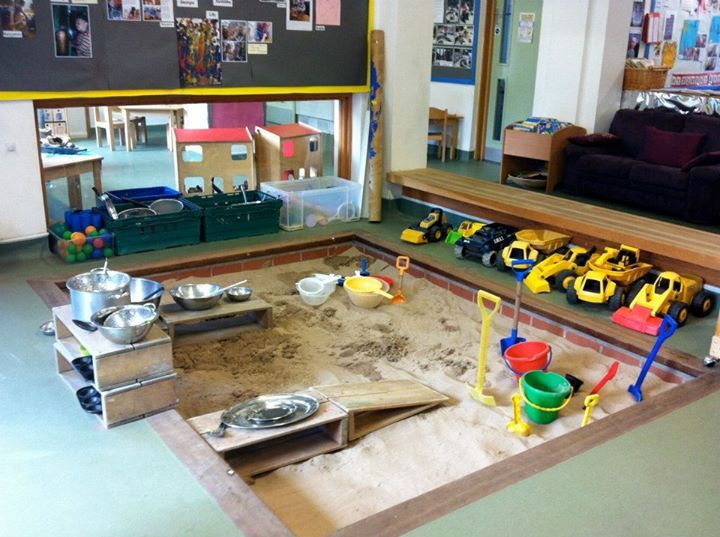 large sand tray indoors at pen green childrens centre