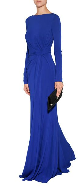 The ultimate in elegance, this royal blue long sleeve gown from Elie Saab features extended buttoned cuffs and a flattering drape #Stylebop