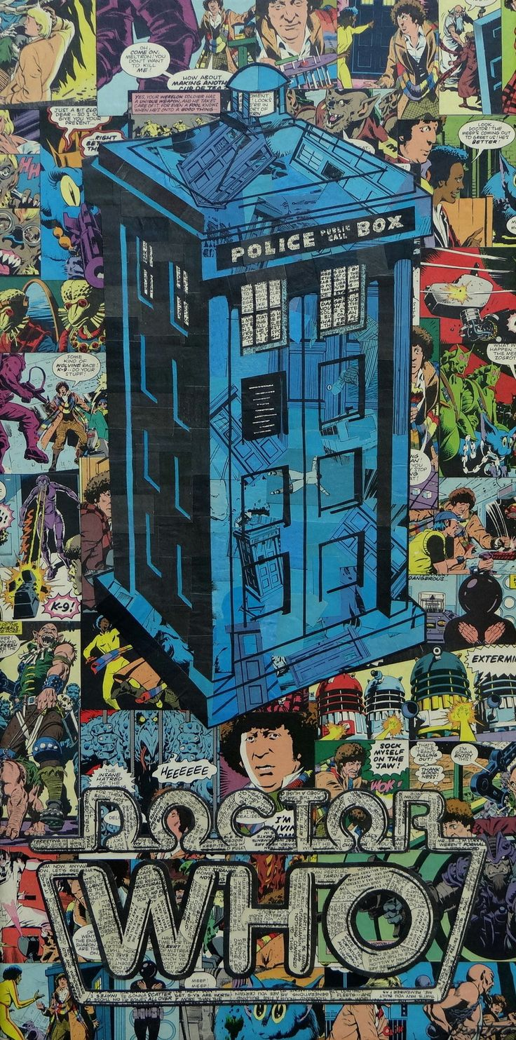 Doctor Who's TARDIS comic collage art