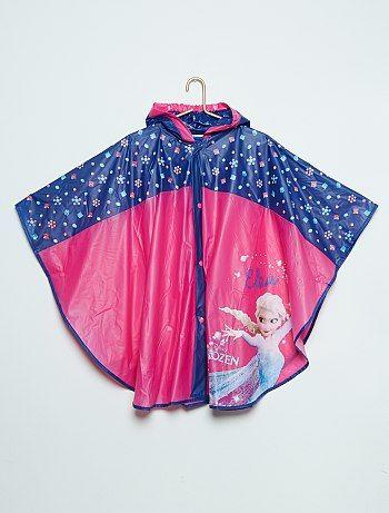Poncho de pluie à capuche imperméable 'Reine des Neiges'                             rose/bleu Fille  - Kiabi