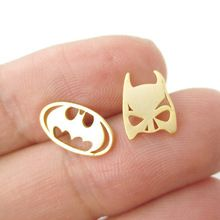 1pc Batman Themed Bat Mask and Logo Shaped Stud Earrings Gold Silver Rose Gold Super Heroes Cute Animal Women Ear Studs E076(China (Mainland))