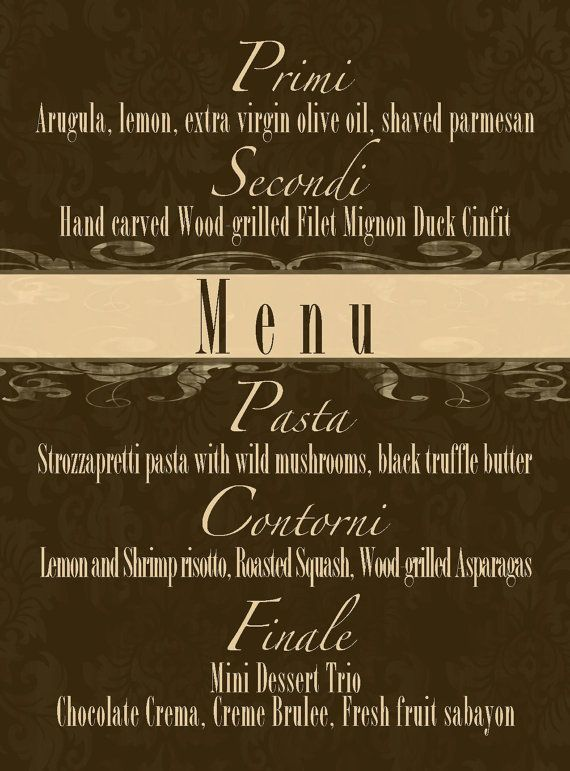 Menu Card... 4x5.5 printable sign by GoToGirlSignDesigns on Etsy, $12.00