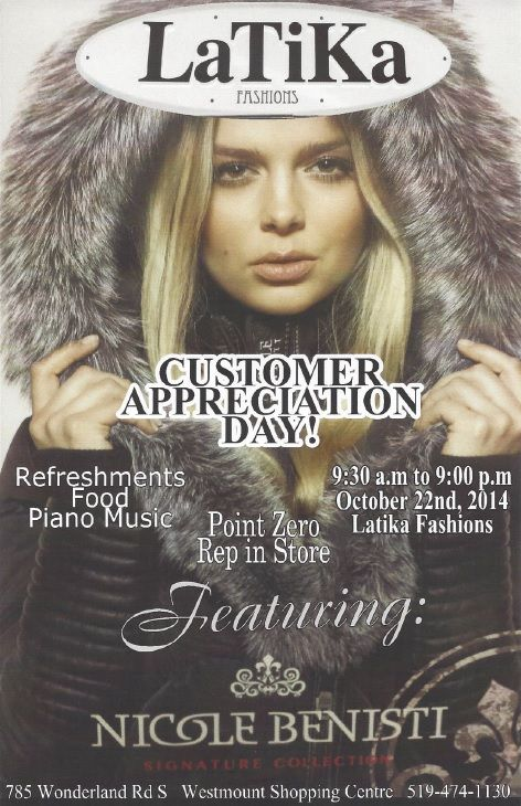 Customer Appreciation Day is only a week away! Wednesday October 22nd Join us in store for 20% off jackets and 30% off the rest of the store! Snacks and Music too!
