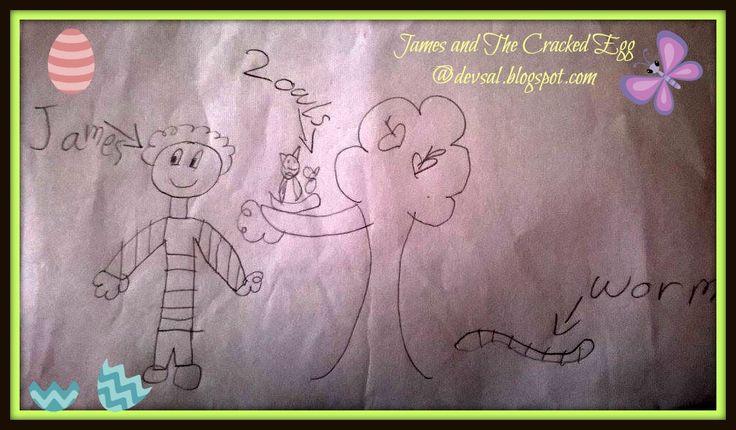 Ilustrasi dari cerita James yang dibuat Ara. Ceritanya, si James ini menemukan telur burung hantu yang baru saja menetas. James mengembalikannya ke pohon tempat sarangnya berada dan memberinya makan kesukaan si burung yaitu berupa cacing tanah. Subhanallah, James anak yang baik hati sekali ya.