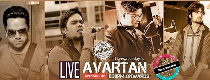 Everyone will SATURDAY SATURDAY with Avartan !!  8 OCT, 8.30 PM , 38 Barracks with Avartan is the destination to go to if you want to celebrate your Saturday in style !!  Book Avartan for ur events @ www.localturnon.com/bookings  #turn #on #music    #turnon #happiness    #turn-on #life !
