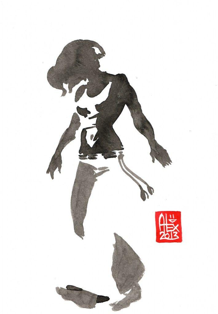 Encres : Capoeira – 444 [ #capoeira #watercolor #illustration] Encre sur papier 300gr / Ink on paper 300gr 17 x 24 cm / 6.7″ x 9.4″