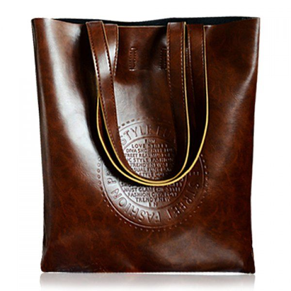 Retro Style Solid Color and Embossing Design Women's Shoulder Bag