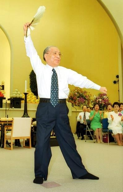 Daisaku Ikeda doing a fan dance  Mentor of world peace and Nichiren Buddhism