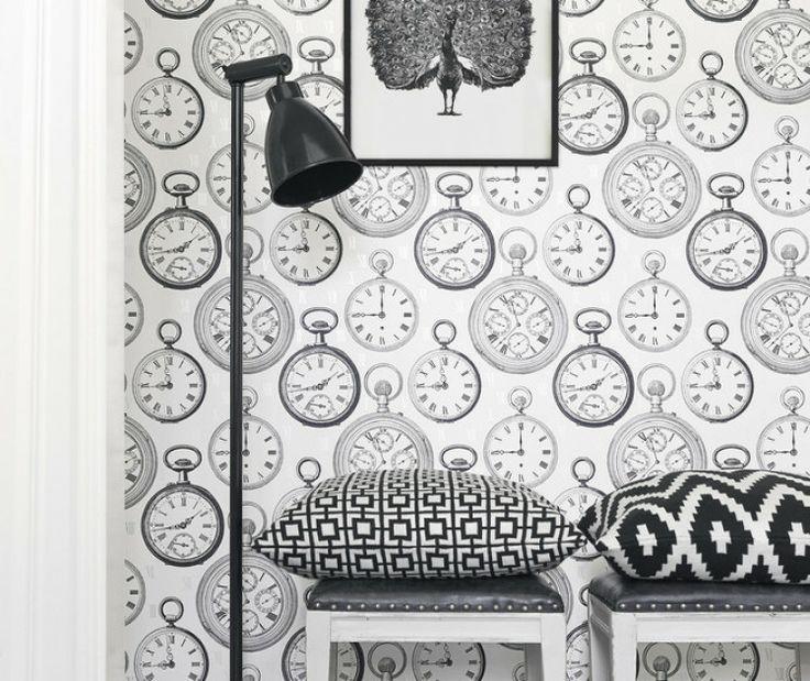 Boråstapeter Graceful Living tapet svartvit mönster klockor grafisk pallar hall