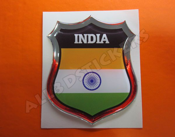 3D Emblem Sticker Resin Domed Flag India - ALL FLAGS of the WORLD