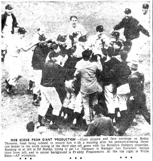 "Photo of the New York Giants celebrating after Bobby Thomson's home run won the 1951 National League pennant, published in the Advocate newspaper (Baton Rouge, Louisiana), 4 October 1951. Source: Wikimedia Commons. Read more on the GenealogyBank blog: ""Baseball History: Thomson's ""Shot Heard 'Round the World."" http://blog.genealogybank.com/baseball-history-thomsons-shot-heard-round-the-world.html"