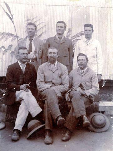 Geni - Photos in Photos from Anglo Boere Oorlog/Boer War (1899-1902) POW Ceylon POWs Smithfield Ceylon  Back row: Piet de Wet, Carel van Aswegen, Frans de Wet  Front row: Hans de Wet, Willem van de Merwe, Jan de Wet