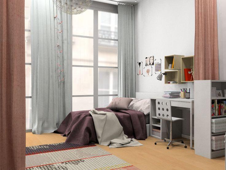 Chambre filles, Lola et Ines, image virtuelle 3d