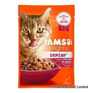 Iams Delights Chicken in Gravy Senior Cat Food 12 x 85g Iams Delights Chicken in Gravy Senior is the ideal meal for your older cat that loves the taste of poultry.